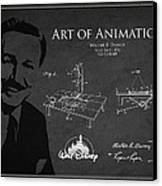 Walt Disney Patent From 1936 Canvas Print by Aged Pixel