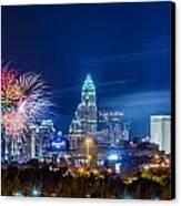 4th Of July Firework Over Charlotte Skyline Canvas Print by Alex Grichenko
