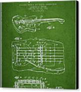 Fender Floating Tremolo Patent Drawing From 1961 - Green Canvas Print by Aged Pixel