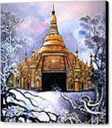 Interpretive Illustration Of Shwedagon Pagoda Canvas Print by Melodye Whitaker