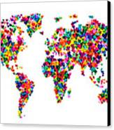 Love Hearts Map Of The World Map Canvas Print by Michael Tompsett