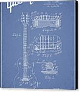 Mccarty Gibson Les Paul Guitar Patent Drawing From 1955 - Light Blue Canvas Print by Aged Pixel