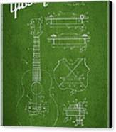 Mccarty Gibson Stringed Instrument Patent Drawing From 1969 - Green Canvas Print by Aged Pixel
