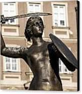 Mermaid Statue In Warsaw. Canvas Print