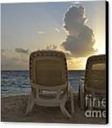 Sun Lounger On Tropical Beach Canvas Print
