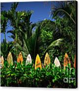 Surf Board Fence Maui Hawaii Canvas Print by Edward Fielding