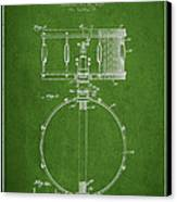 Snare Drum Patent Drawing From 1939 - Green Canvas Print