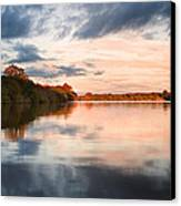 Beautiful Sunset Over Autumn Fall Lake With Crystal Clear Reflec Canvas Print