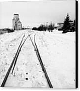 Cn Canadian National Railway Tracks And Grain Silos Kamsack Saskatchewan Canada Canvas Print