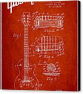 Mccarty Gibson Les Paul Guitar Patent Drawing From 1955 - Red Canvas Print