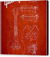 Mccarty Gibson Stringed Instrument Patent Drawing From 1969 - Red Canvas Print by Aged Pixel