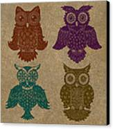 4 Sophisticated Owls Colored Canvas Print by Kyle Wood
