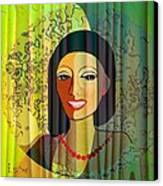 416 - Lady With Nice Teeth Canvas Print by Irmgard Schoendorf Welch