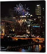 4th Of July Firworks In Pittsburgh Canvas Print by Jetson Nguyen