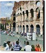 Outside Colosseum In Rome Canvas Print by George Atsametakis