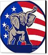 Republican Elephant Mascot Usa Flag Canvas Print by Aloysius Patrimonio
