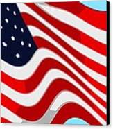50 Star American Flag Closeup Abstract 9 Canvas Print by L Brown