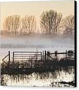 Panorama Landscape Of Lake In Mist With Sun Glow At Sunrise Canvas Print