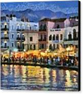 Painting Of The Old Port Of Chania Canvas Print by George Atsametakis