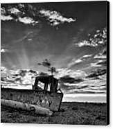 Stunning Black And White Image Of Abandoned Boat On Shingle Beac Canvas Print by Matthew Gibson