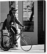 A Barefoot Cyclist With Beard And Hat In San Francisco Canvas Print by RicardMN Photography