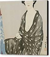 A Beauty In A Black Kimono Canvas Print by Hashiguchi