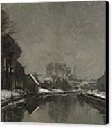A Belgian Town In Winter Canvas Print by Albert Baertsoen