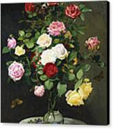 A Bouquet Of Roses In A Glass Vase By Wild Flowers On A Marble Table Canvas Print