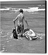 A Boy And His Dog Go Surfing Canvas Print by Kristina Deane