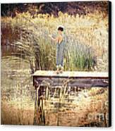 A Boy Fishing Canvas Print