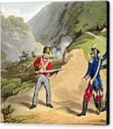 A British Soldier Taking Two French Canvas Print by John Augustus Atkinson