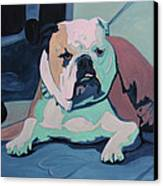 A Bulldog In Love Canvas Print by Xueling Zou