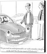 A Car Salesman Gives A Pitch To A Prospective Canvas Print
