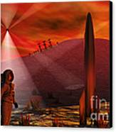 A Colony Being Established On An Alien Canvas Print