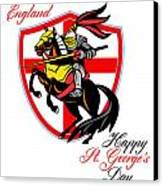 A Day For England Happy St George Day Retro Poster Canvas Print