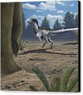 A Deinonychosaur Leaves Tracks Canvas Print