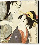A Double Half Length Portrait Of A Beauty And Her Admirer  Canvas Print by Kitagawa Utamaro