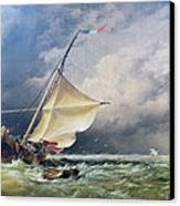 A Dutch Beurtman Aground Canvas Print