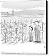 A Farmer And His Daughter Look At Cornstalks Who Canvas Print by Paul Noth