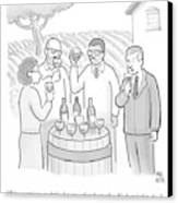 A Group Sample Wine At A Wine Tasting Vineyard Canvas Print by Paul Noth