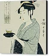 A Half Length Portrait Of Naniwaya Okita Canvas Print by Kitagawa Utamaro