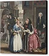 A Harlots Progress, Plate I Canvas Print by William Hogarth