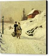 A Horse Drawn Sleigh In A Winter Landscape Canvas Print by Fritz Thaulow