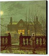 A Lady In A Garden By Moonlight Canvas Print