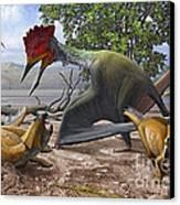 A Large Bakonydraco Pterosaur Attacking Canvas Print by Sergey Krasovskiy