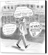 A Man Is Seen Walking Down The Sidewalk With Word Canvas Print by Roz Chast