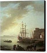 A Mediterranean Port At Dawn Canvas Print by Claude-Joesph Vernet