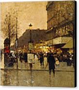 A Parisian Street Scene Canvas Print by Eugene Galien-Laloue