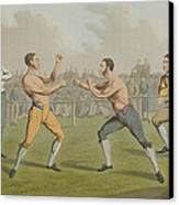 A Prize Fight Aquatinted By I Clark Canvas Print by Henry Thomas Alken
