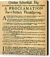 A Proclamation Of Thanksgiving Canvas Print